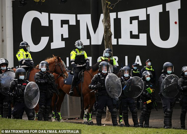 About 500 police officers were deployed to the out-of-control demonstration on Tuesday