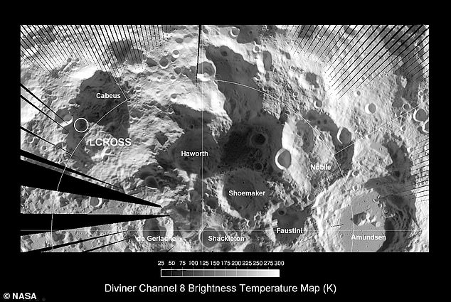 Lunar South Pole with craters including Nobel annotated, imaged by Diviner, an infrared radiometer aboard NASA's Lunar Reconnaissance Orbiter