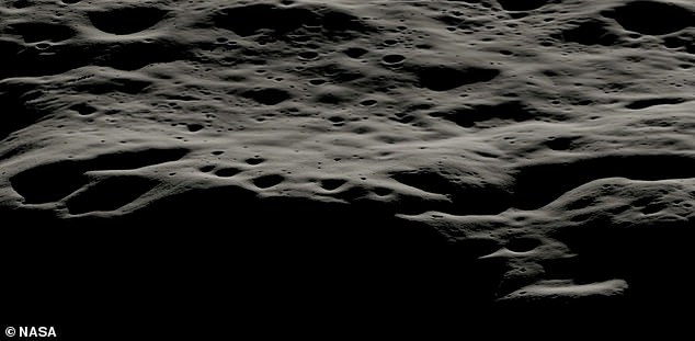A data visualization showing the mountainous region to the west of Nobel Crater and the small craters that line its rim.  This area has areas permanently covered in shadow.