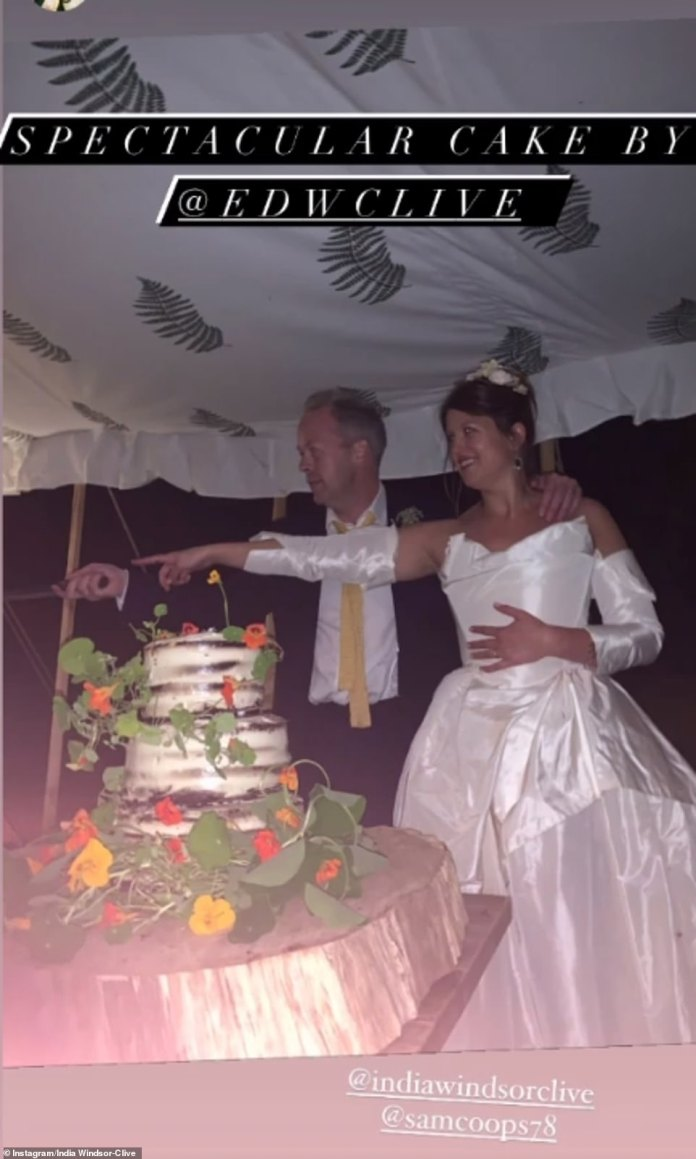 The smiling bride (pictured before cutting her wedding cake), daughter of the Earl of Plymouth, is a descendant of the 18th-century Clive of India, a controversial military officer and an officer of the East India Trading Company.