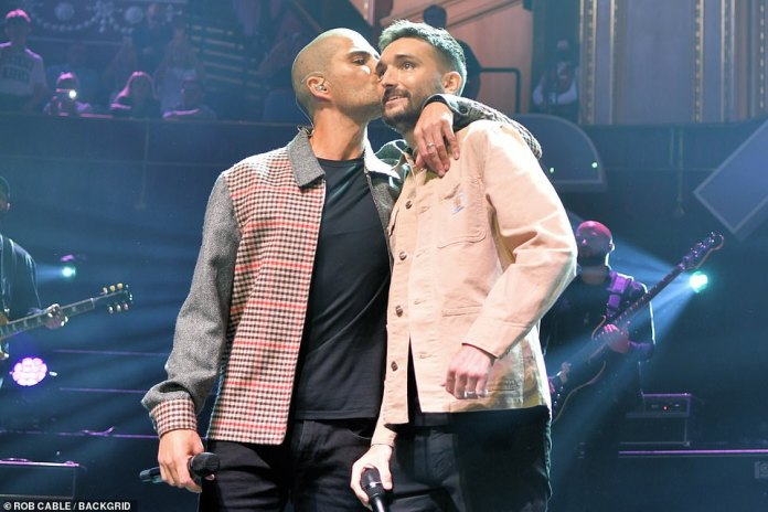 Event: The 33-year-old singer, along with his bandmates Max George (pictured), Jay McGuinness, Shiv Kenswaren and Nathan Sykes, joined other stars to hold a charity event following a disabling stage 4 glioblastoma (brain tumor) diagnosis in October .