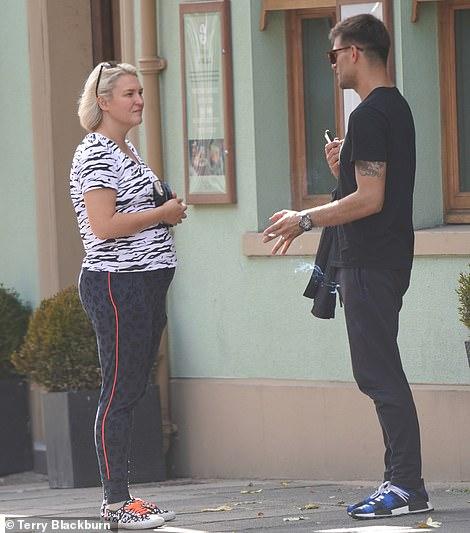 Tough in it: Dragon's Den star Sarah Davis joins her pro Aljas Skorzenek for a lunch date after her own rehearsal