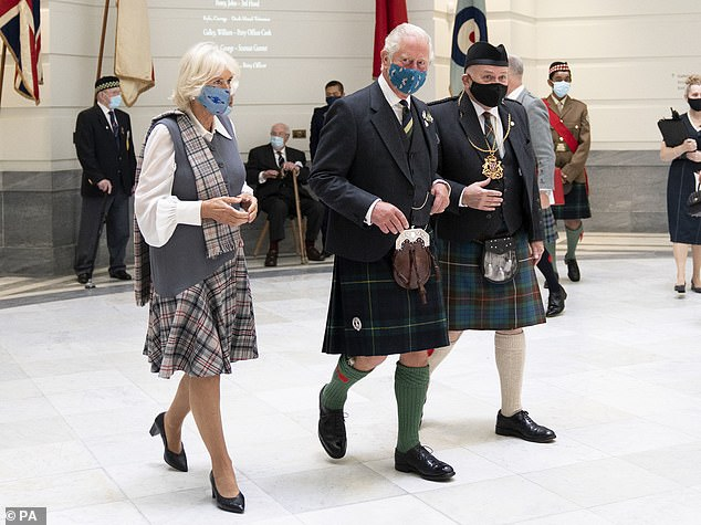 The Prince of Wales and Duchess of Cornwall both sported full tartan today as they officially opened the redeveloped Aberdeen Art Gallery