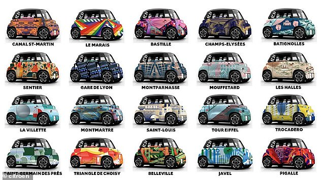 The Parisian rental vehicles are available in a selection of bonkers colours and schemes, some of them seen here