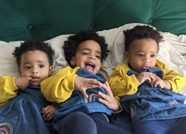 After 20 minutes washing the girls and getting all the flour out of their hair, Abz turned his attention to the living room - but says the sofa is the biggest problem. Pictured, his children together