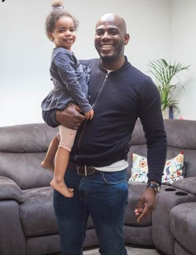 DJ Abz Musa (pictured with one of his daughters), 34, from London, had to take a call from his sister on the phone yesterday afternoon so left Nalah, two, and twins Sadè and Mallie (pictured together), one, in the lounge with the TV on while he went into another room