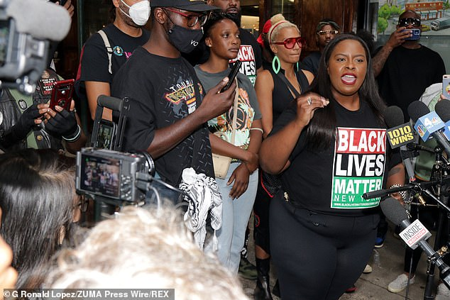 BLM protesters chanted ¿F*** you, Carmine¿s¿ and ¿Carmine¿s are racist¿ outside the Italian restaurant on the Upper West Side of Manhattan on Monday night