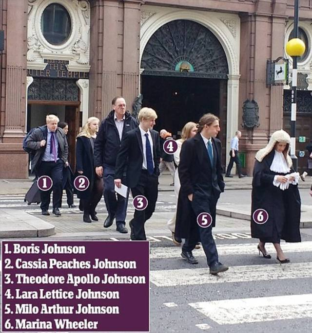 Boris, pictured with his four children from his marriage to Marina, right, pictured together in London when she became a QC in 2016