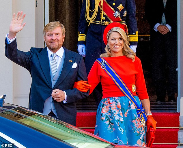 However, while the royal's ensemble brought all the usual glamour expected of the monarch's wife when attending the opening of parliament with her husband King Willem-Alexander (pictured together), the rest of the usual pomp and pageantry was nowhere to be found