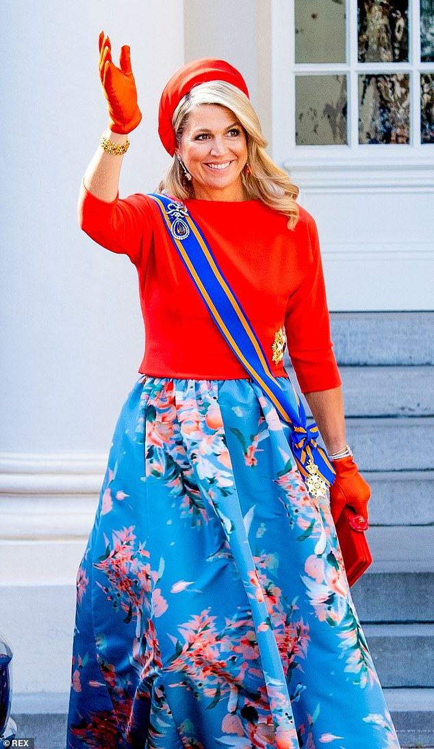 But the different circumstances didn't put off Maxima (pictured), 50, who still gave her all in the style stakes; she commanded attention in a very vibrant gown, teamed with a matching red hat and gloves