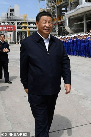 China has reacted furiously to the Aukus deal, claiming it is a blow to nuclear non-proliferation (pictured:President Xi Jinpingvisits a chemical company in Yulin City on Sept. 13)