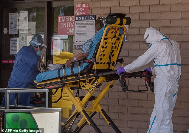 A new study suggests that monoclonal antibodies may be an effective treatment for reducing the severity of COVID-19 in high-risk Native American patients.  Pictured: A patient is taken by ambulance to the emergency room in Navajo Nation, Arizona, May 2020