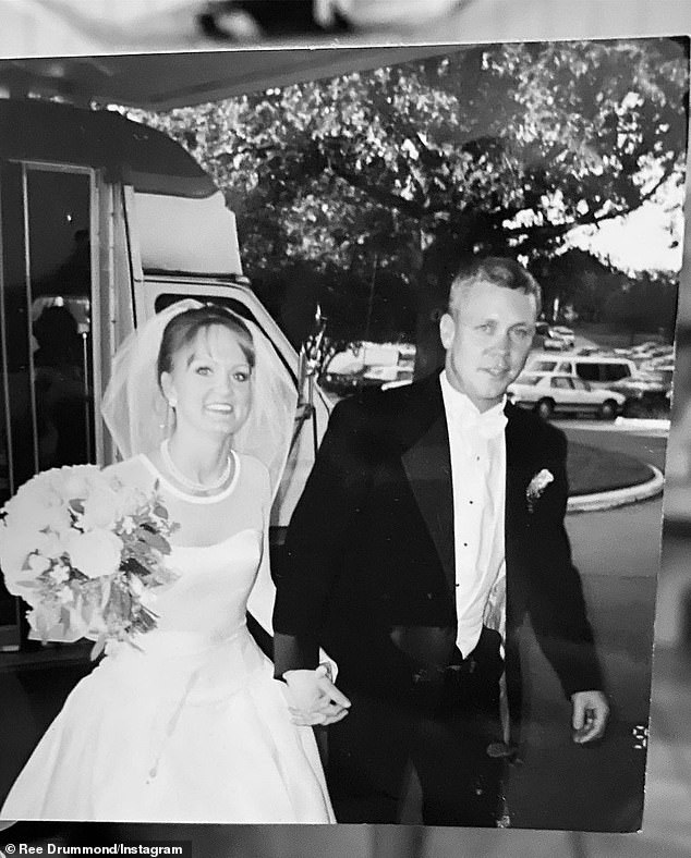 Back when:Pioneer Woman Ree Drummond is looking back at 25 years of marriage with husband Ladd, seen at their 1996 wedding above