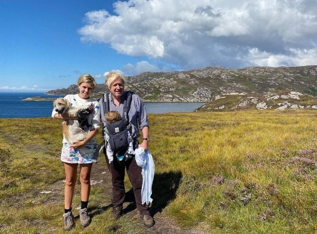 Boris, Carrie and Wilf on holiday in Scotland when the little boy in a sling was just five months old