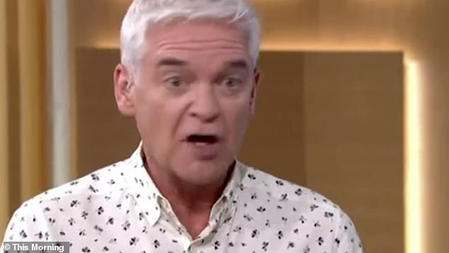 Conflict: Philip Schofield, 59, clashed with Professor Tim Spector on Tuesday morning after the epidemiologist suggested anyone 'showing symptoms of a cold should stay home'