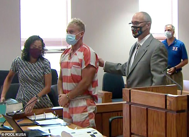 Morphew (pictured in court in May) was released on Monday but will have to wear an ankle monitor as a condition of his release and will be forced to stay in Chaffee County