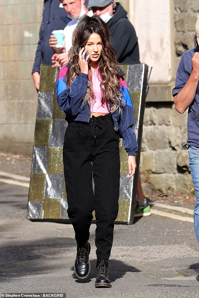 here she is!  Michelle Keegan, 34, turned into shameless beauty Erin Croft once again, joining her co-star Joe Gilgun to film the fourth series of Brassick in Lancashire on Tuesday.