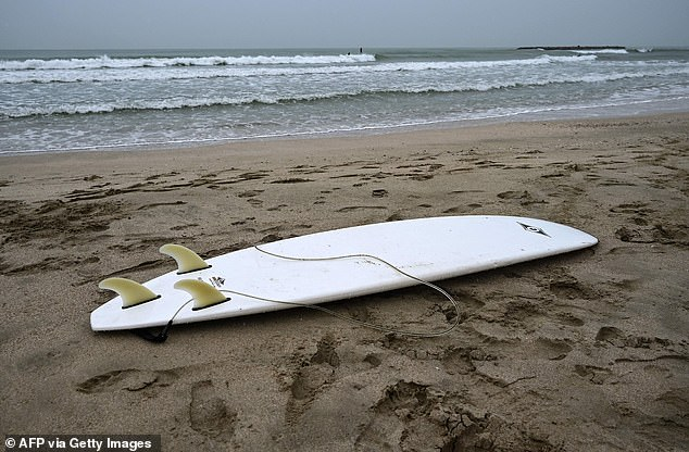 The device clips into the surfboard's lower deck and uses an electric field to overwhelm the sharks' electro-reception organs that they use to navigate