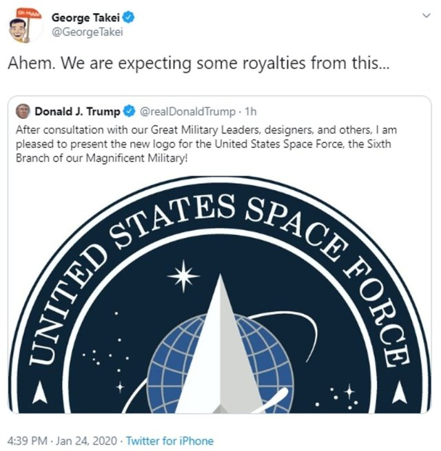 Takei, a frequent critic of Trump, tweeted: 'Ahem. We are expecting some royalties from this..'