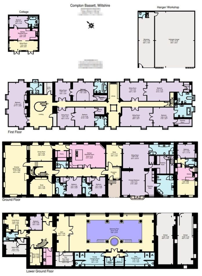 Spread: Floorplan shows layout of impressive three-story mansion