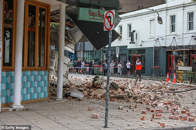 Pictures have emerged of a Betty's Burgers restaurant partially collapsed on Chapel St in Melbourne's inner-city after a magnitude 5.8 earthquake on Wednesday