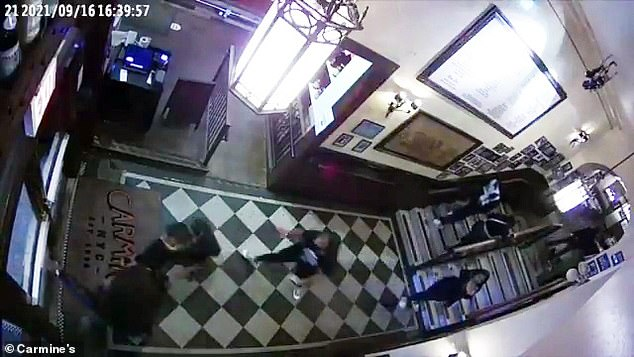 Meanwhile, the restaurant shared the surveillance footage, taken from both inside the entrance to the restaurant and the outdoor area where the brawl broke out last week