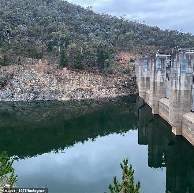 Some social media users were initially worried about the integrity of the nearby 83m-high Eildon Dam wall on the Goulburn River which forms Lake Eildon (pictured).Goulburn-Murray Water Storage Services said initial surveillance found nothing of concern