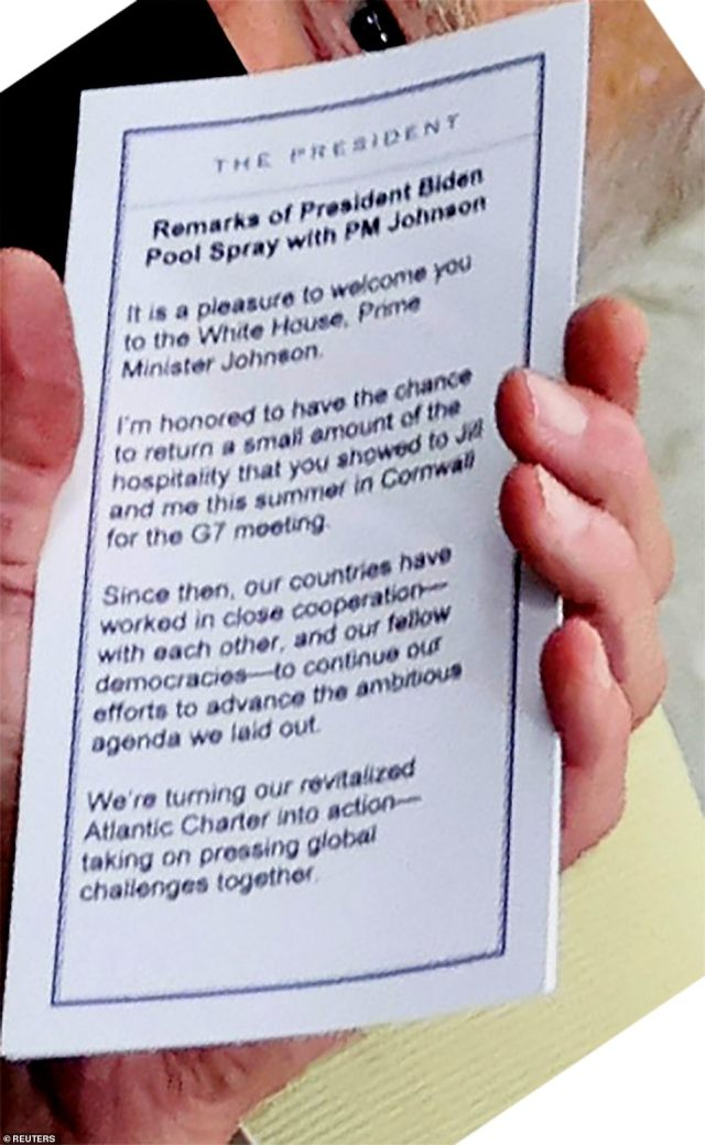 A close up of the notecard Biden used in his meeting with PM Johnson