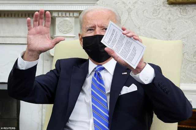 President Biden's answer to a question about the situation on the border couldn't be heard as his staff shouted over him