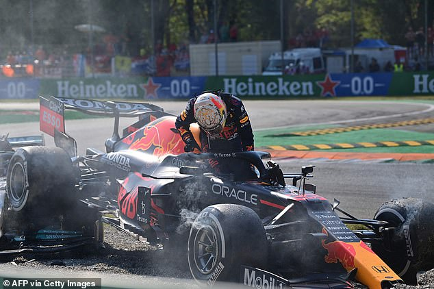 Verstappen's car hit Hamilton after the two collided at the Italian Grand Pix this month