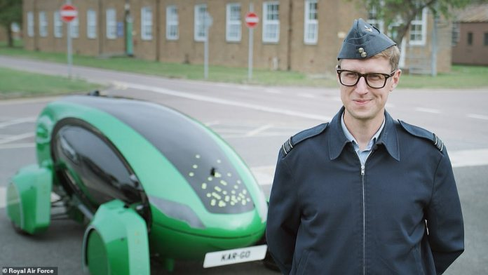 The car-go is pictured here with Squadron Leader Tony Seston, RAF engineer and Astra ambassador, at the Royal Air Force Base at Breeze Norton in Oxfordshire.