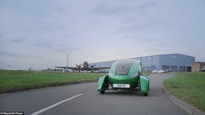 The strange looking vehicle, currently being used as part of Royal Air Force testing, has the appearance of a giant green computer mouse with raised wheels