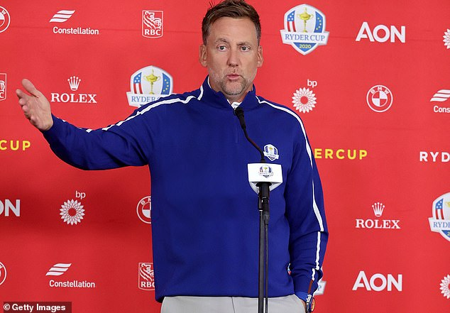 Europe's Ian Poulter stood on the Whistling Straits podium, looking like he owned the place