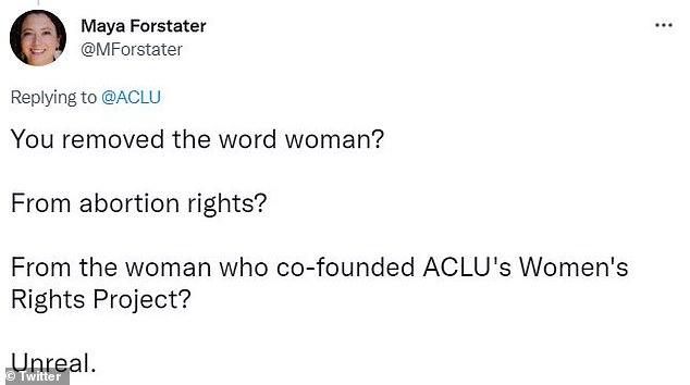 ACLU's tweet was criticized by many on social media