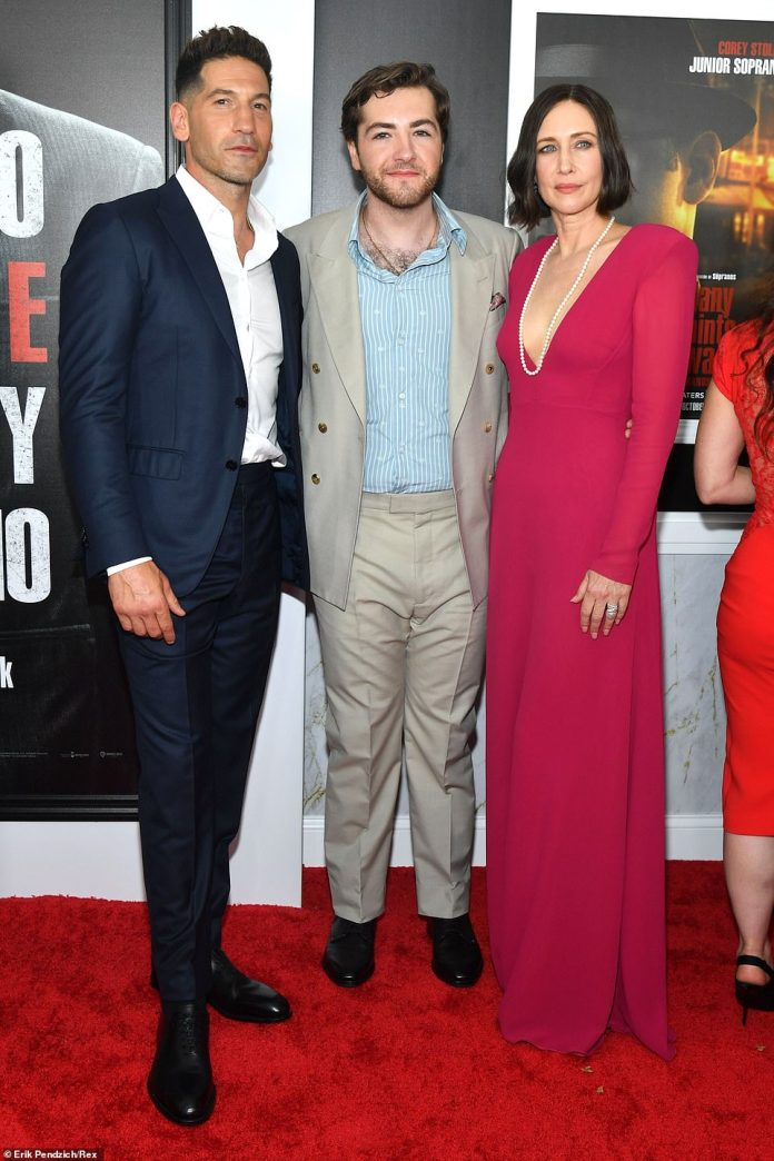 Big names:Michael poses for snaps with costars Vera Farmiga and The Walking Dead's Jon Bernthal