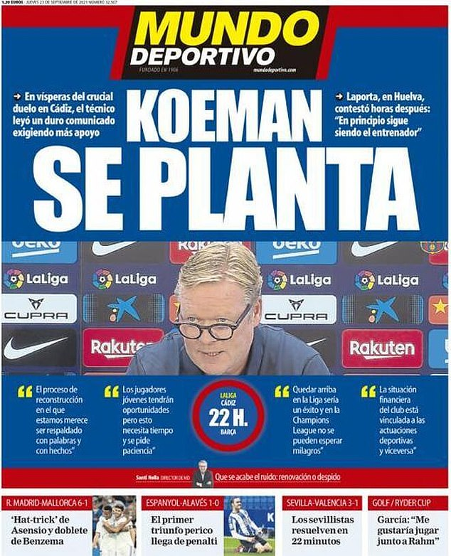 Mundo Deportivo front page reads 'Comman hits the floor' after boss statement