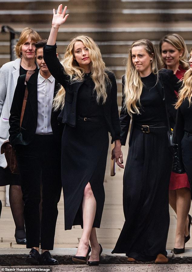 Outside court: Amber Heard is seen outside court in London on July 28, 2020