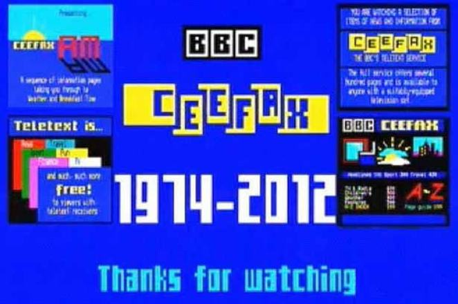 Teletext services began to decline in the mid-1990s with the dawn of the internet and rolling news channels. Ceefax was discontinued when the analogue television signal was switched off in favour of digital-only broadcasts in 2012