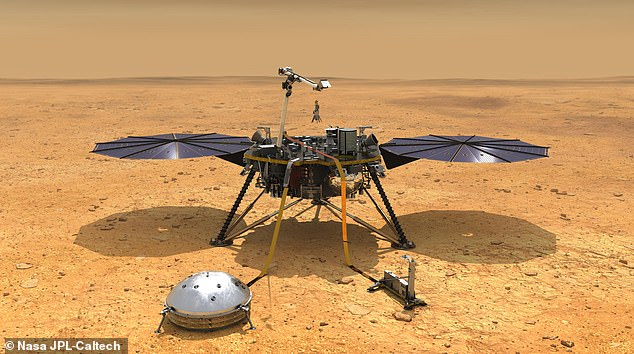 The stationary InSight lander (pictured in this artist's impression) will continue to use its seismometer to detect earthquakes, the US space agency said.