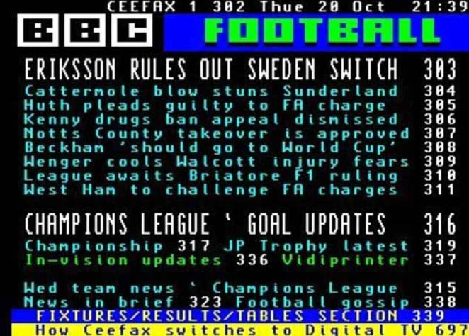 Another popular feature on Ceefax was its rolling sports coverage, which kept viewers in the loop and gave them access to football results