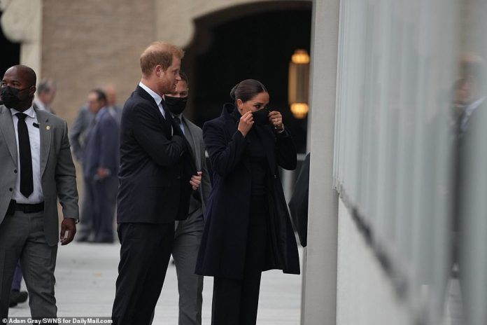Meghan was snapped donning a face mask before entering One World Trade Center to visit its observation deck