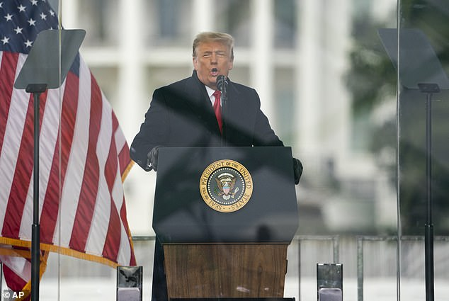 Former President Donald Trump, seen speaking at the rally preceding the January 6 Capitol attack, said he will claim 'executive privilege' to block Congressional requests for information on what he was doing that day