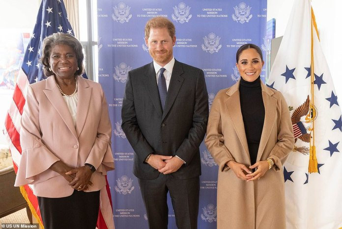 Meghan Markle and Prince Harry pose for a photo with US Ambassador to the UN Linda Thomas-Greenfield at 50 UN Plaza last month while visiting New York