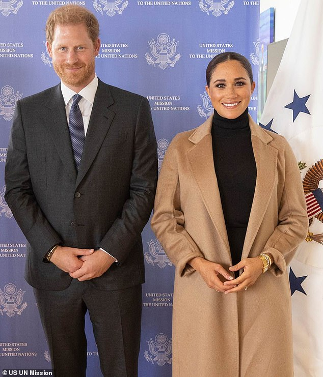 Meghan Markle visited the UN today in an unseasonably warm-looking camel-colored coat yesterday