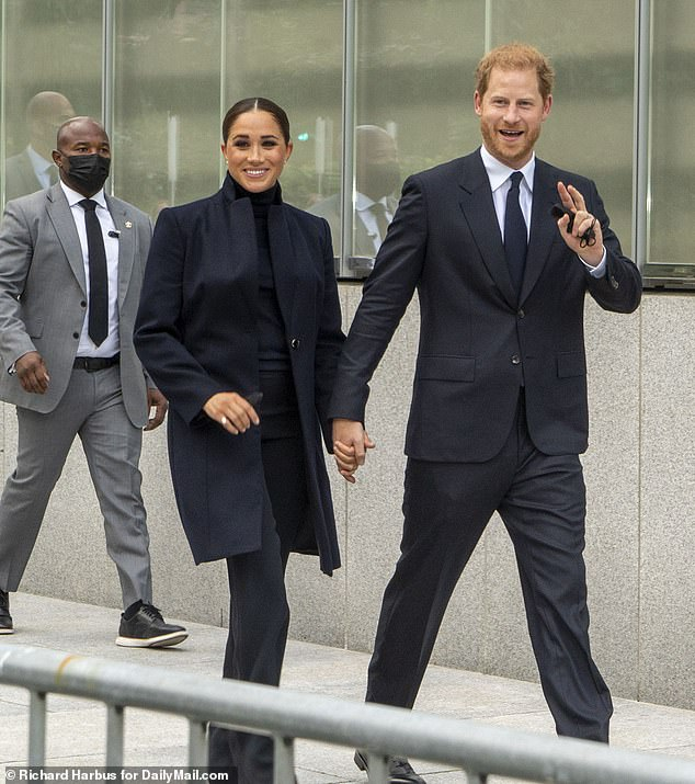One of the burly bodyguards (left) escorting Prince Harry and Meghan Markle around New York City has claimed to work for the Department of Homeland Security