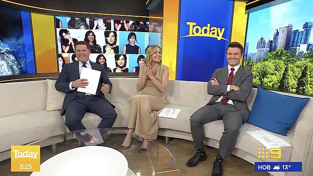 Red-faced:Alex, 40, couldn't hide his embarrassment after hosts Karl Stefanovic (left) and Allison Langdon (centre) introduced him to Natalie live on air
