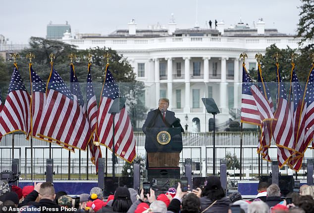 In this Jan. 6, 2021, file photo with the White House in the background, President Donald Trump speaks at a rally in Washington