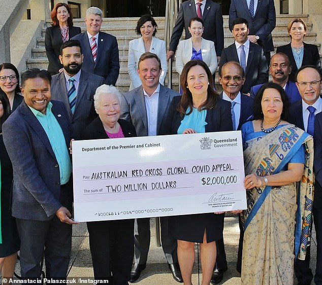 Only a few months ago Ms Palaszczuk donated $2million to support Red Cross efforts battling the Covid surge in India in May