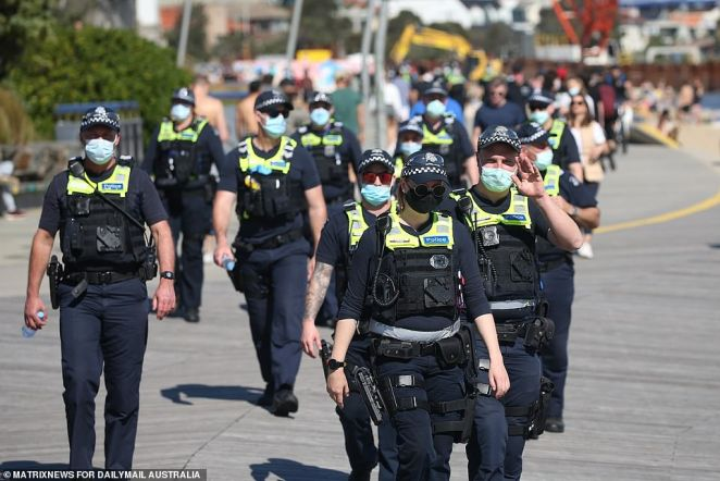 Police were under the impression large-scale protests would be occurring in the area and ensured a large police presence (pictured) was out and about