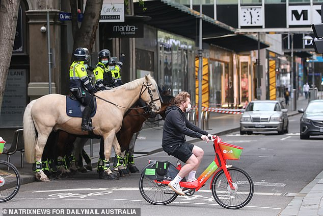 Police patrol the Melbourne CBD including with horses after days of protests in the CBD